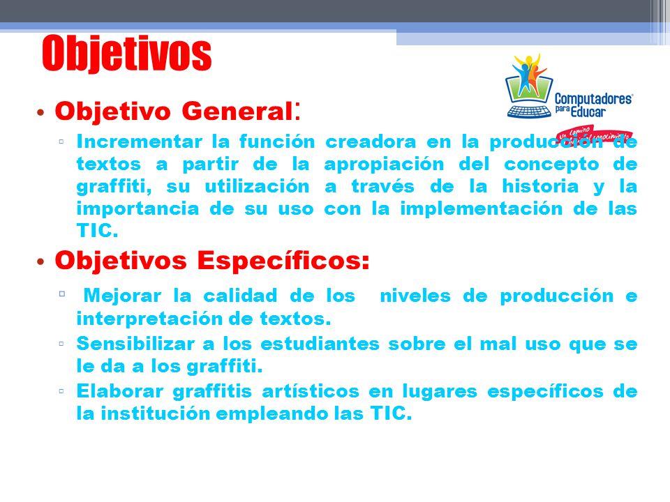 Objetivos Objetivo General : Incrementar la función creadora en la producción de textos a partir de la apropiación del concepto de graffiti, su utiliz