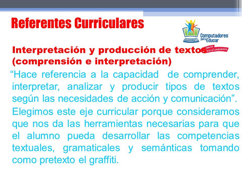 Referentes Curriculares Interpretación y producción de textos (comprensión e interpretación) Hace referencia a la capacidad de comprender, interpretar