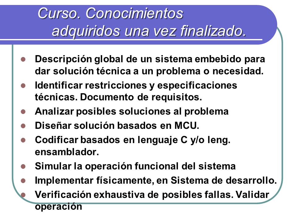 Objetivo/Requisitos y características.