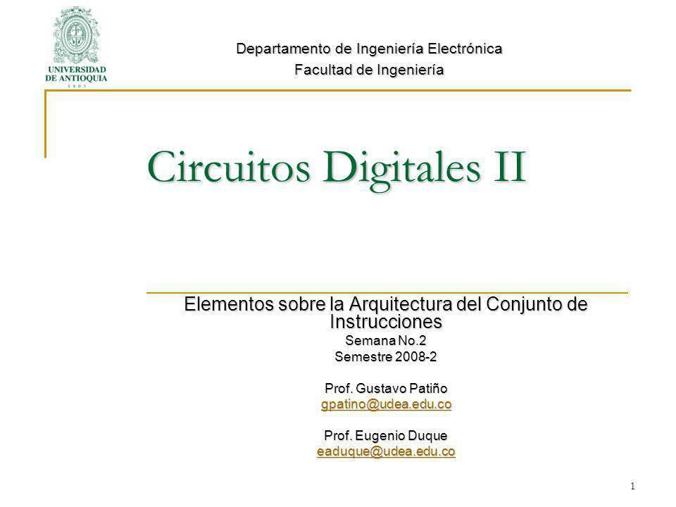Circuitos Digitales II Elementos sobre la Arquitectura del Conjunto de Instrucciones Semana No.2 Semestre 2008-2 Prof.