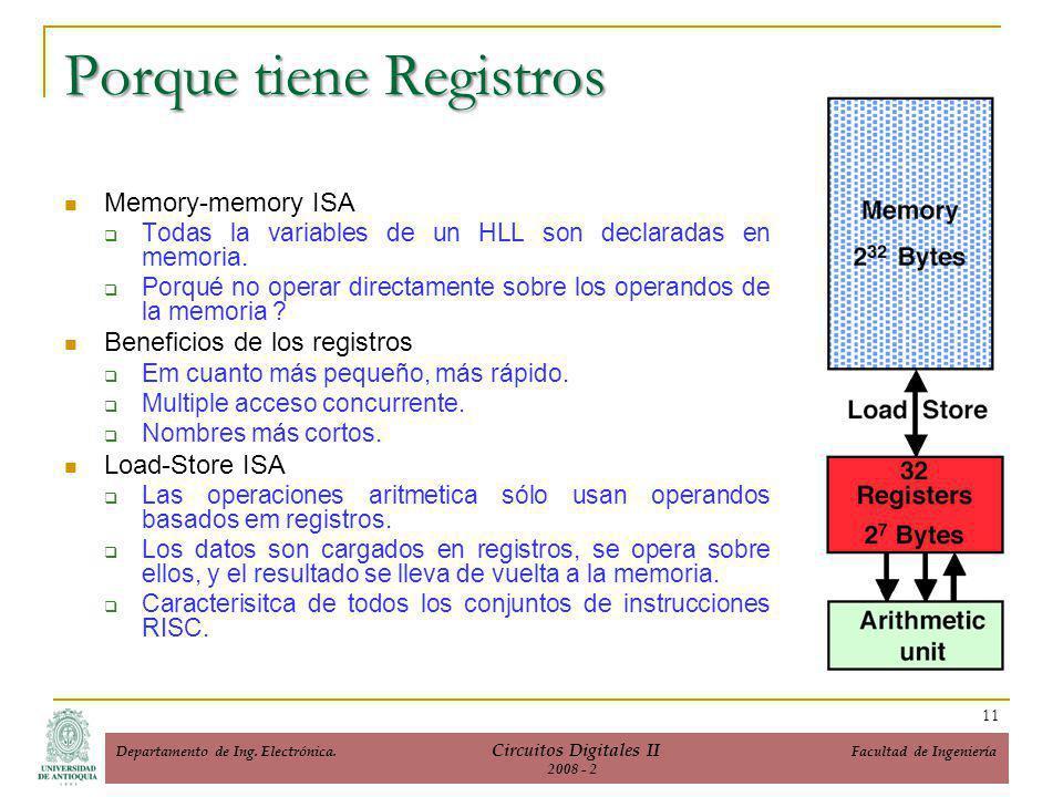 Porque tiene Registros Memory-memory ISA Todas la variables de un HLL son declaradas en memoria.