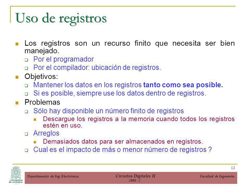 Uso de registros Los registros son un recurso finito que necesita ser bien manejado.
