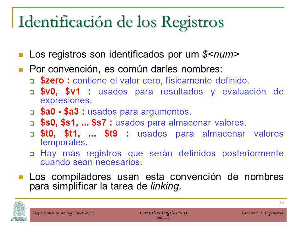 Identificación de los Registros Los registros son identificados por um $ Por convención, es común darles nombres: $zero : contiene el valor cero, físicamente definido.