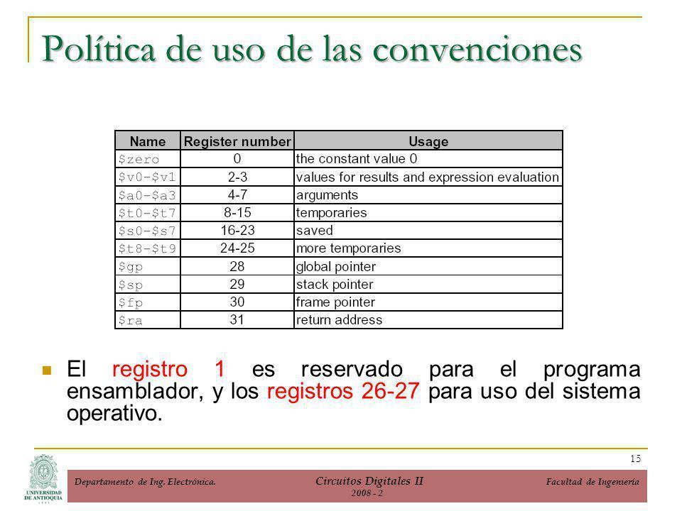 El registro 1 es reservado para el programa ensamblador, y los registros 26-27 para uso del sistema operativo.