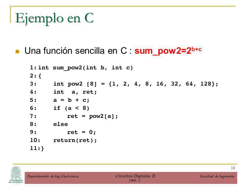 Ejemplo en C Una función sencilla en C : sum_pow2=2 b+c 18 Departamento de Ing.