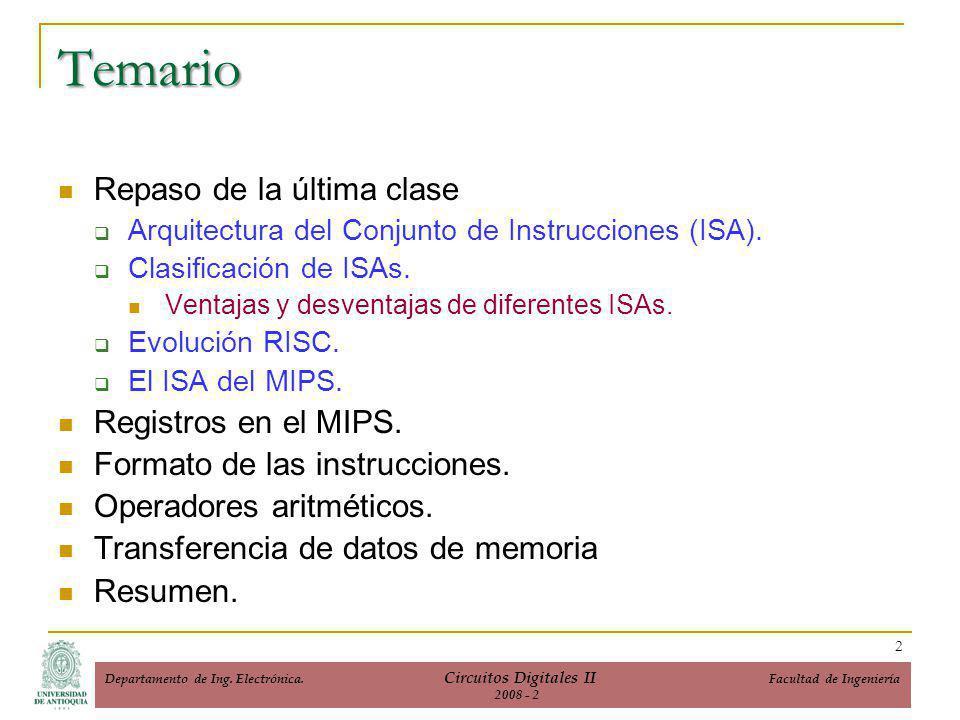 Repaso de la última clase Arquitectura del Conjunto de Instrucciones (ISA).
