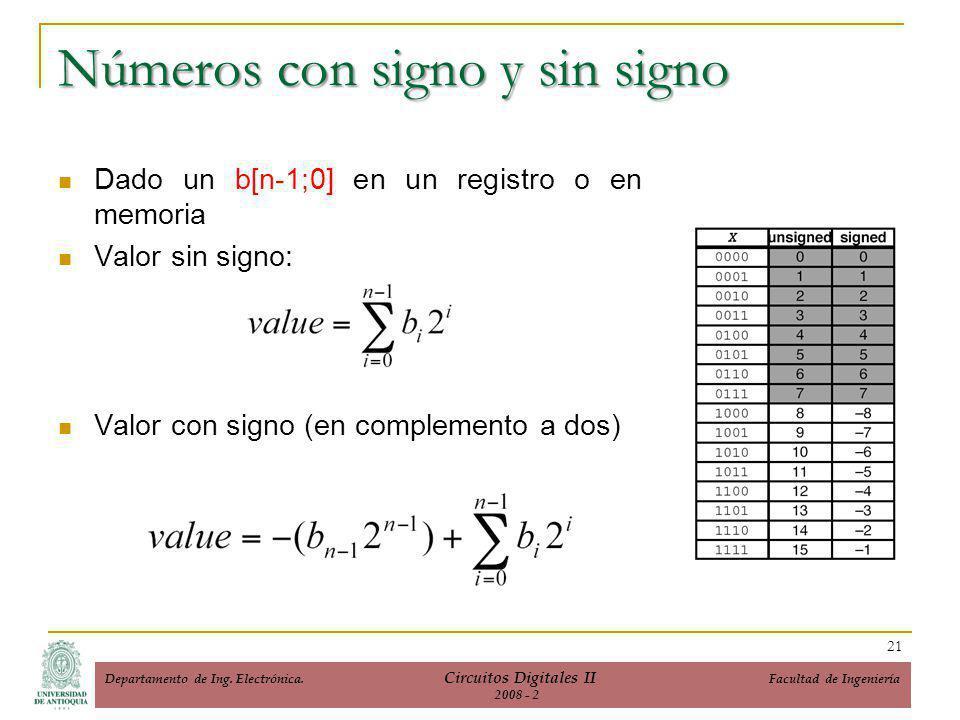 Números con signo y sin signo Dado un b[n-1;0] en un registro o en memoria Valor sin signo: Valor con signo (en complemento a dos) 21 Departamento de Ing.