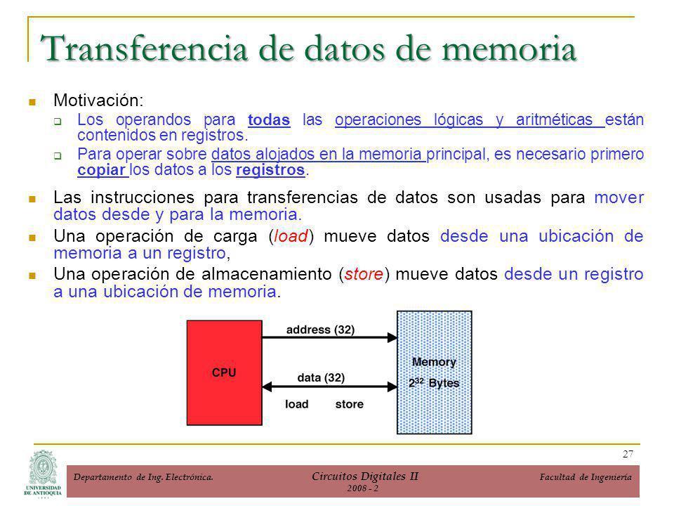 Transferencia de datos de memoria Motivación: Los operandos para todas las operaciones lógicas y aritméticas están contenidos en registros.