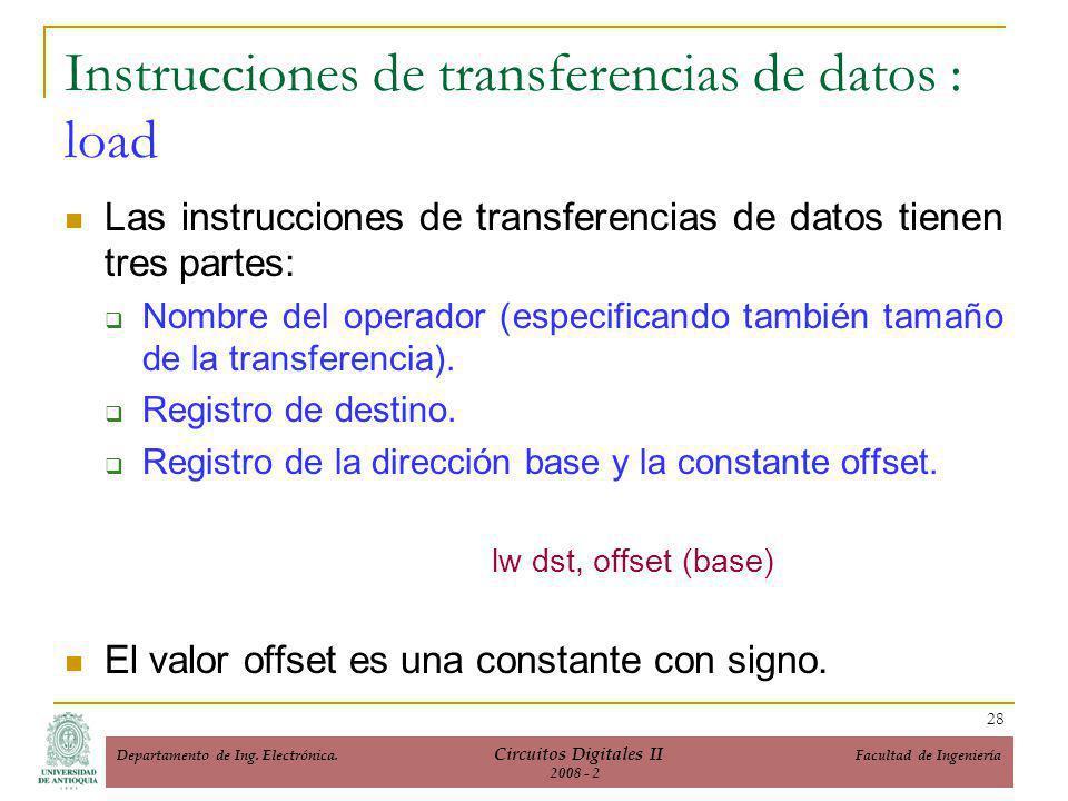 Instrucciones de transferencias de datos : load Las instrucciones de transferencias de datos tienen tres partes: Nombre del operador (especificando también tamaño de la transferencia).