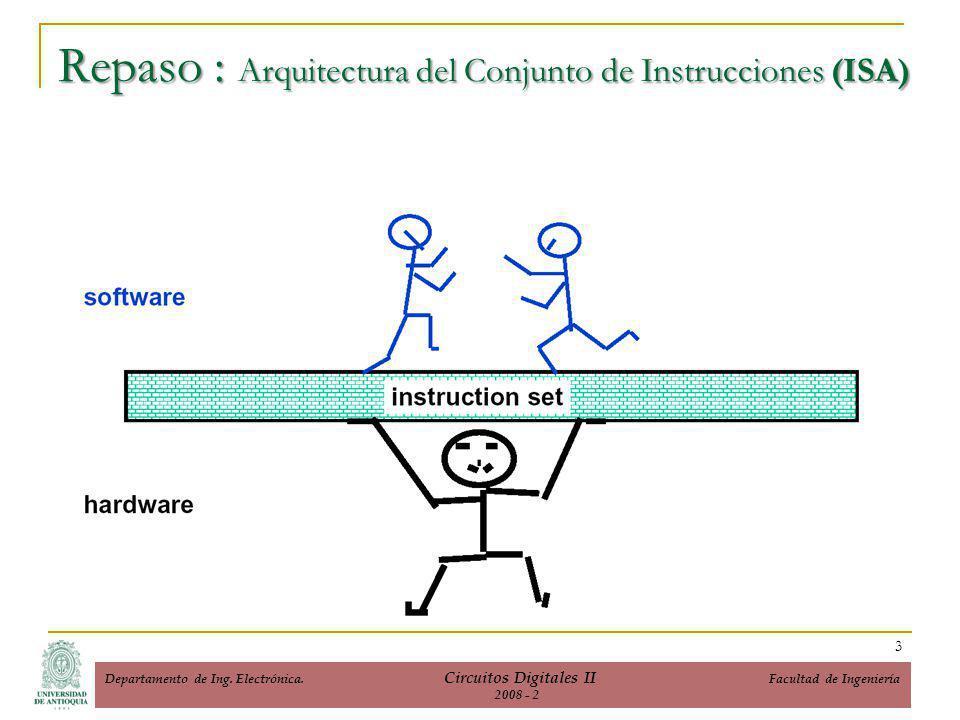 Repaso : Arquitectura del Conjunto de Instrucciones (ISA) 3 Departamento de Ing.