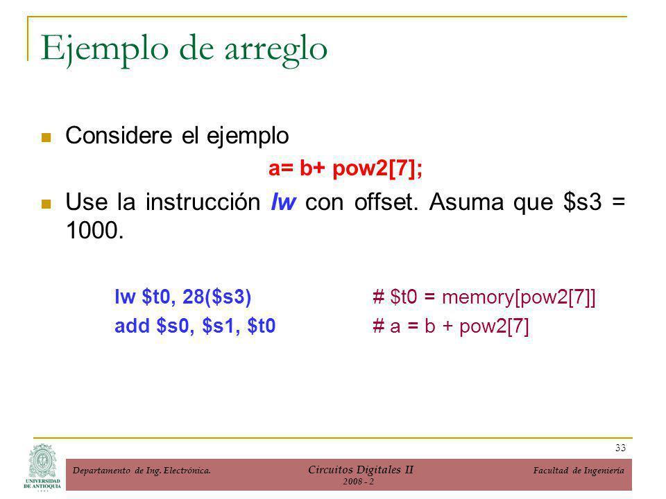 Ejemplo de arreglo Considere el ejemplo a= b+ pow2[7]; Use la instrucción lw con offset.