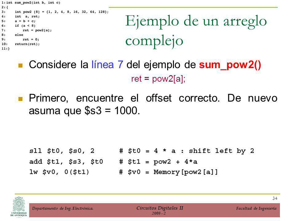 Ejemplo de un arreglo complejo Considere la línea 7 del ejemplo de sum_pow2() ret = pow2[a]; Primero, encuentre el offset correcto.