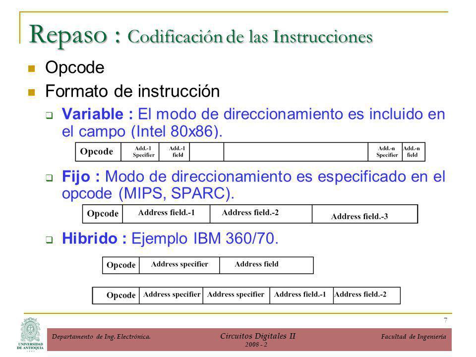 Repaso : Codificación de las Instrucciones Opcode Formato de instrucción Variable : El modo de direccionamiento es incluido en el campo (Intel 80x86).