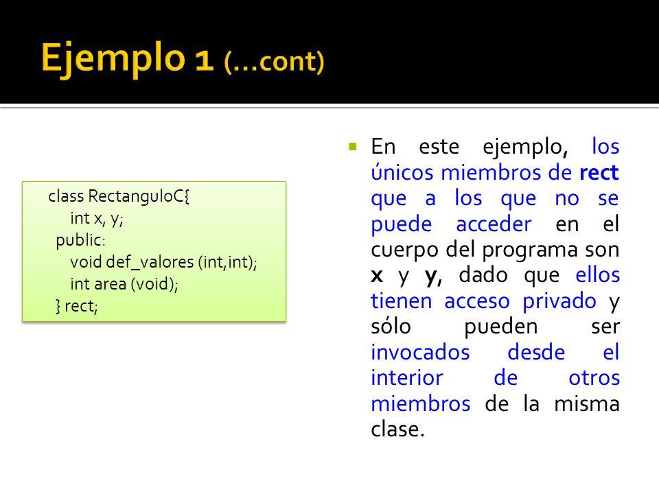 En este ejemplo, los únicos miembros de rect que a los que no se puede acceder en el cuerpo del programa son x y y, dado que ellos tienen acceso privado y sólo pueden ser invocados desde el interior de otros miembros de la misma clase.