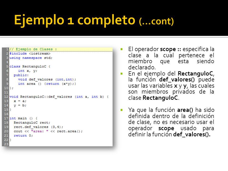 El operador scope :: especifica la clase a la cual pertenece el miembro que esta siendo declarado.