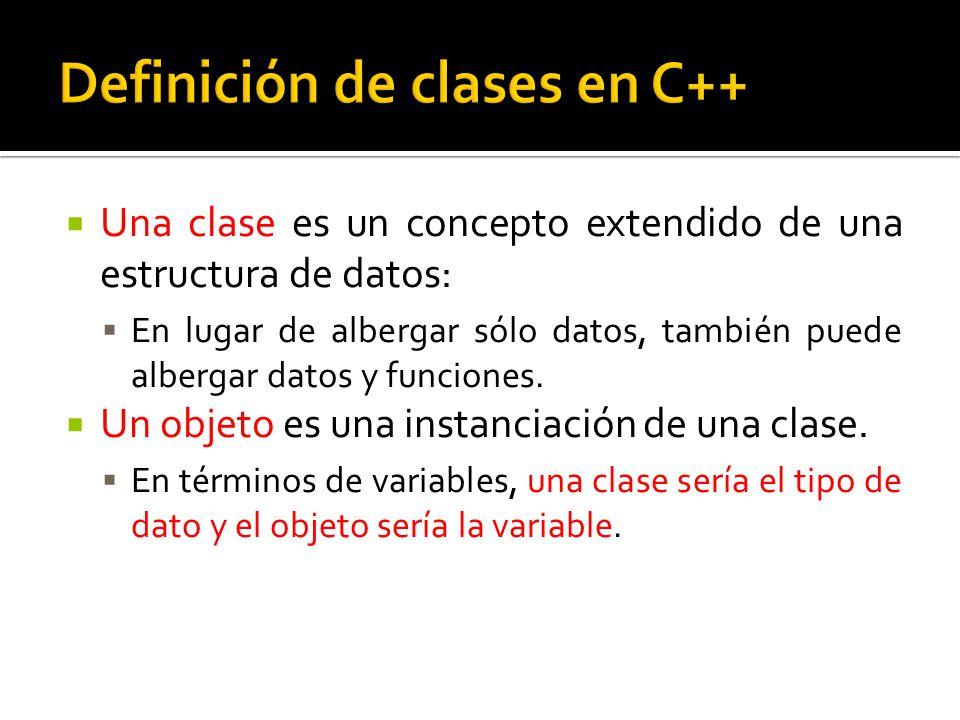 Una clase es un concepto extendido de una estructura de datos: En lugar de albergar sólo datos, también puede albergar datos y funciones.