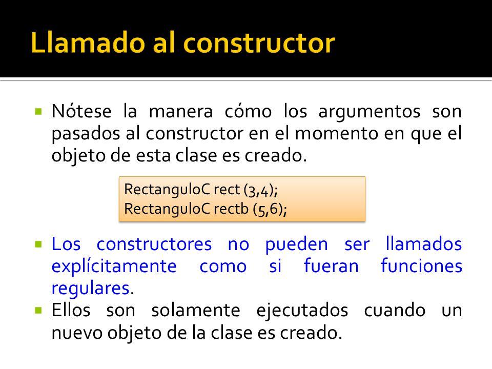 Nótese la manera cómo los argumentos son pasados al constructor en el momento en que el objeto de esta clase es creado.