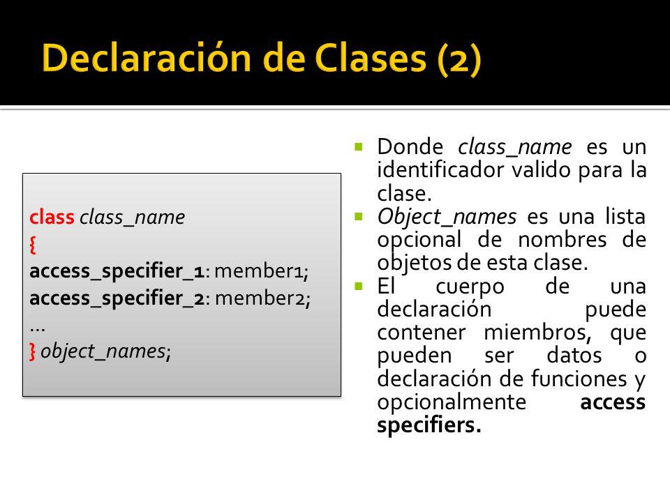 Donde class_name es un identificador valido para la clase.