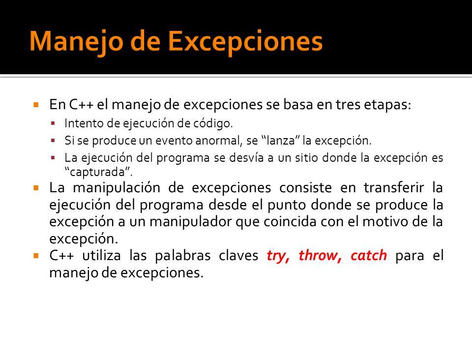 En C++ el manejo de excepciones se basa en tres etapas: Intento de ejecución de código. Si se produce un evento anormal, se lanza la excepción. La eje