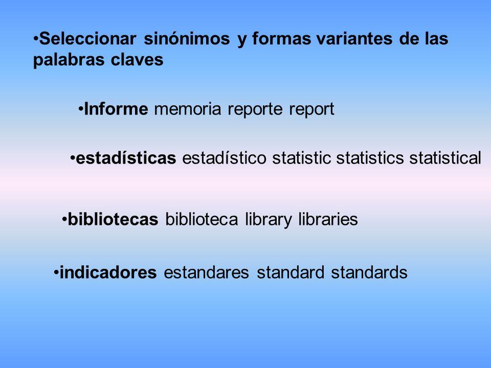 Seleccionar sinónimos y formas variantes de las palabras claves Informe memoria reporte report estadísticas estadístico statistic statistics statistical bibliotecas biblioteca library libraries indicadores estandares standard standards