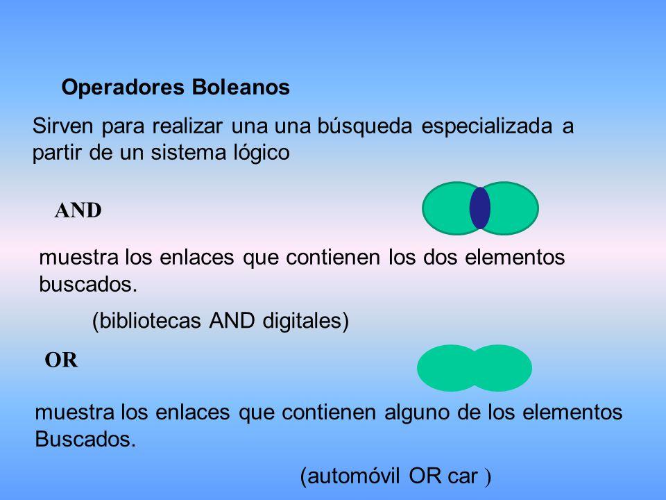 Operadores Boleanos Sirven para realizar una una búsqueda especializada a partir de un sistema lógico AND muestra los enlaces que contienen los dos elementos buscados.
