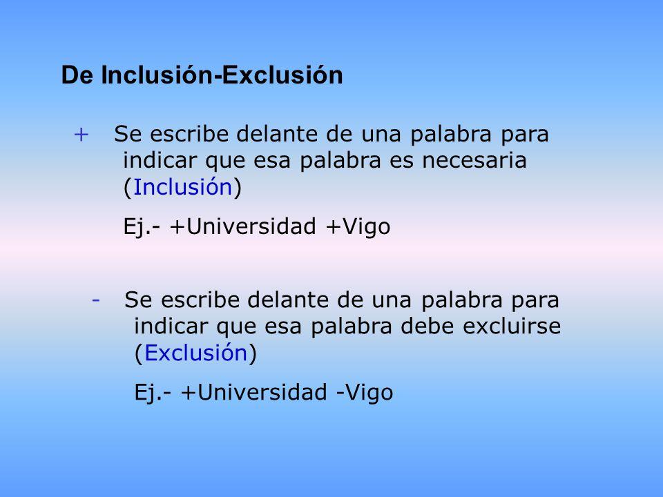 De Inclusión-Exclusión + Se escribe delante de una palabra para indicar que esa palabra es necesaria (Inclusión) Ej.- +Universidad +Vigo - Se escribe delante de una palabra para indicar que esa palabra debe excluirse (Exclusión) Ej.- +Universidad -Vigo