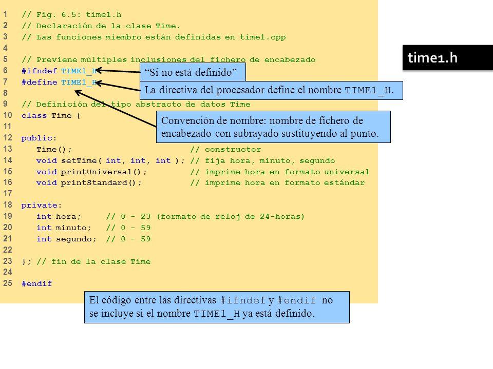1 // Fig. 6.5: time1.h 2 // Declaración de la clase Time. 3 // Las funciones miembro están definidas en time1.cpp 4 5 // Previene múltiples inclusione