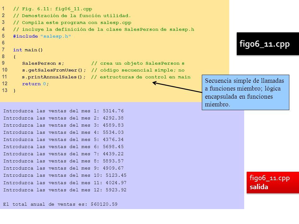1 // Fig. 6.11: fig06_11.cpp 2 // Demostración de la función utilidad. 3 // Compila este programa con salesp.cpp 4 // incluye la definición de la clas