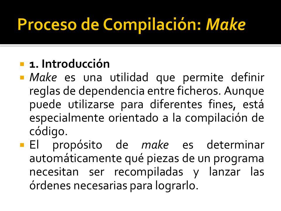 1. Introducción Make es una utilidad que permite definir reglas de dependencia entre ficheros. Aunque puede utilizarse para diferentes fines, está esp