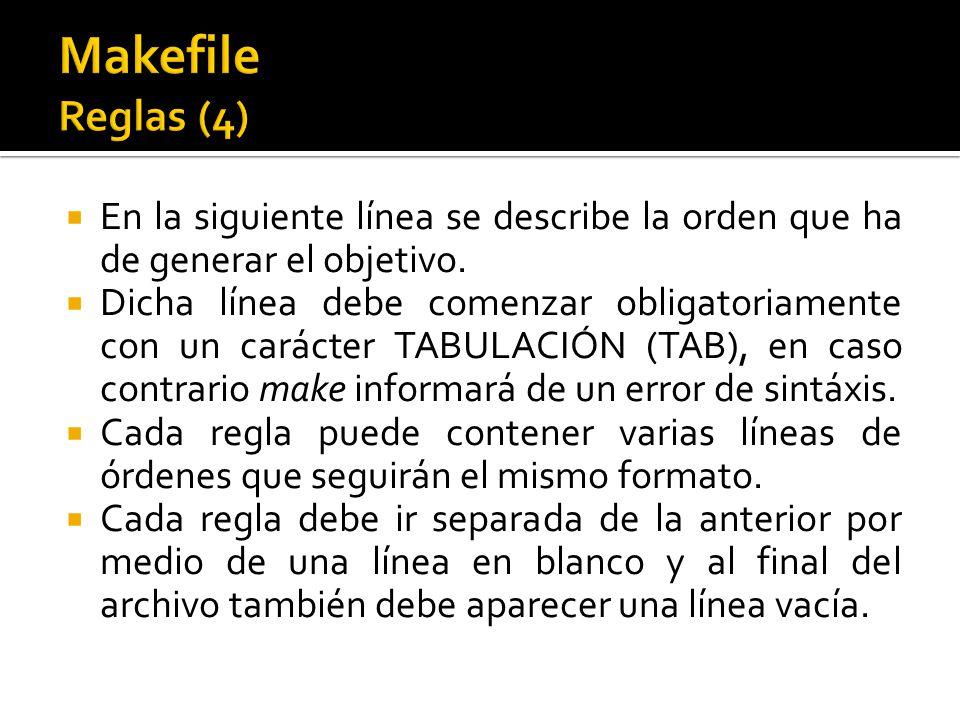 En la siguiente línea se describe la orden que ha de generar el objetivo. Dicha línea debe comenzar obligatoriamente con un carácter TABULACIÓN (TAB),