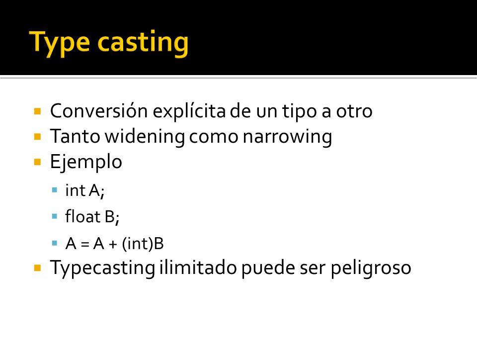 Conversión explícita de un tipo a otro Tanto widening como narrowing Ejemplo int A; float B; A = A + (int)B Typecasting ilimitado puede ser peligroso