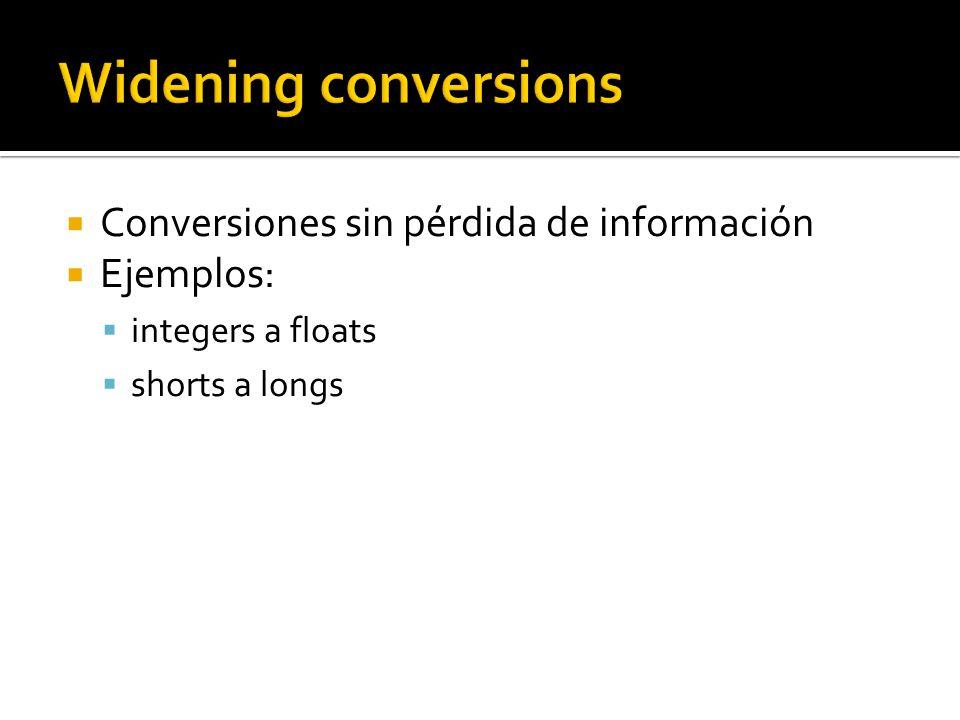 Conversiones sin pérdida de información Ejemplos: integers a floats shorts a longs