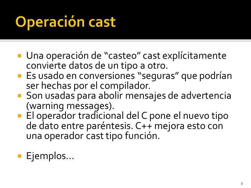 Una operación de casteo cast explícitamente convierte datos de un tipo a otro.