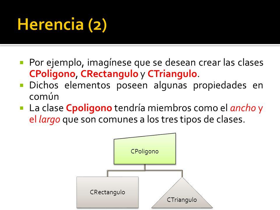 Por ejemplo, imagínese que se desean crear las clases CPoligono, CRectangulo y CTriangulo.