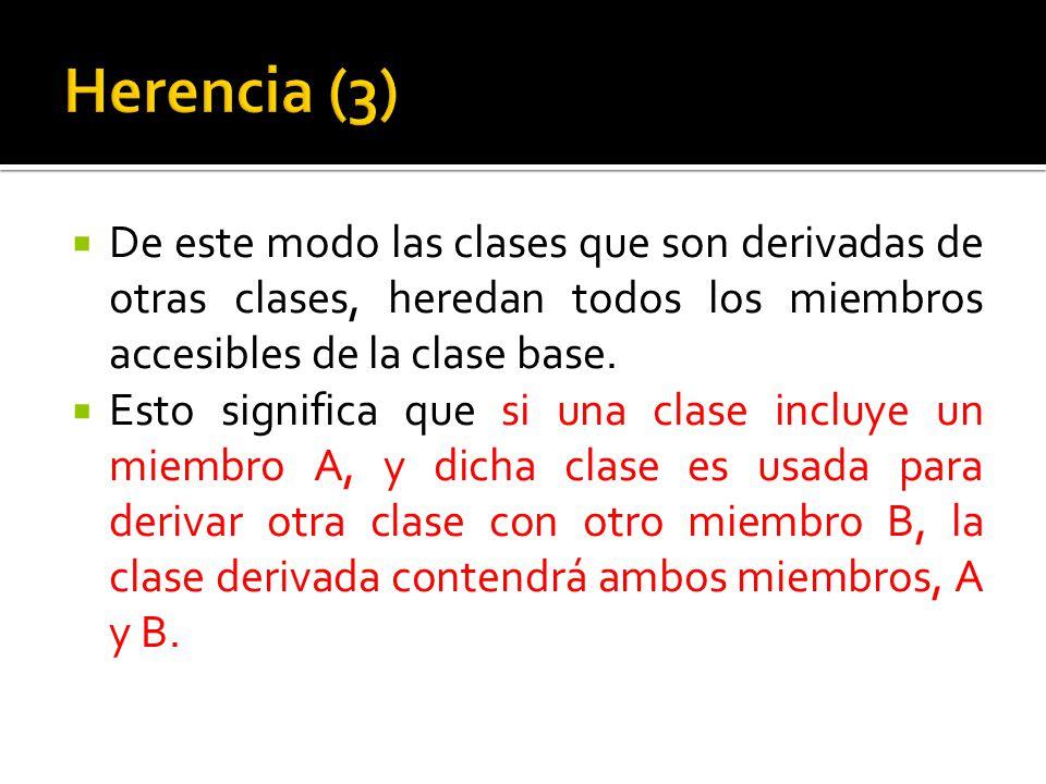 De este modo las clases que son derivadas de otras clases, heredan todos los miembros accesibles de la clase base.