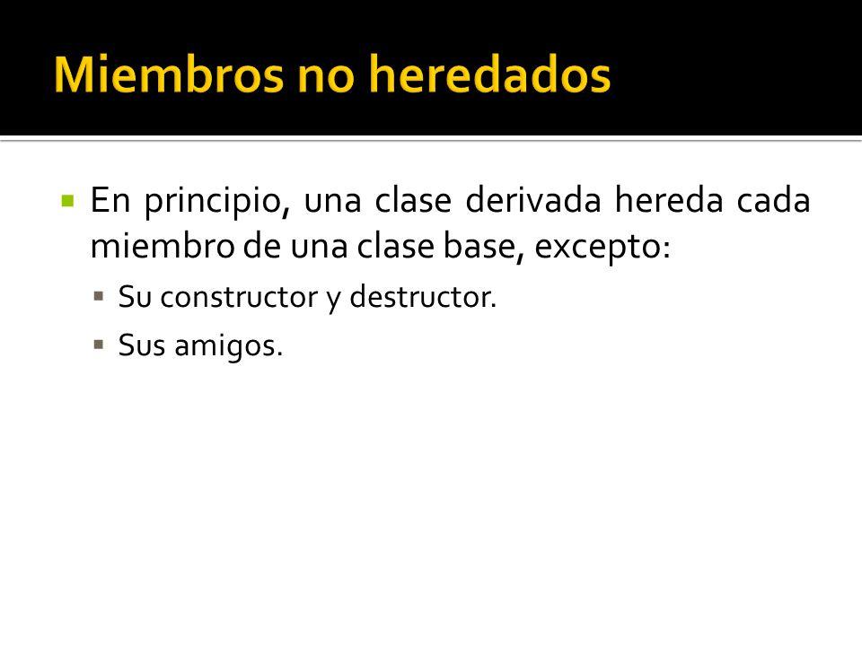 En principio, una clase derivada hereda cada miembro de una clase base, excepto: Su constructor y destructor.