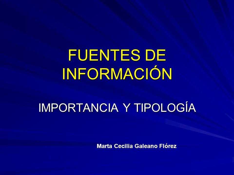 FUENTES DE INFORMACIÓN IMPORTANCIA Y TIPOLOGÍA Marta Cecilia Galeano Flórez
