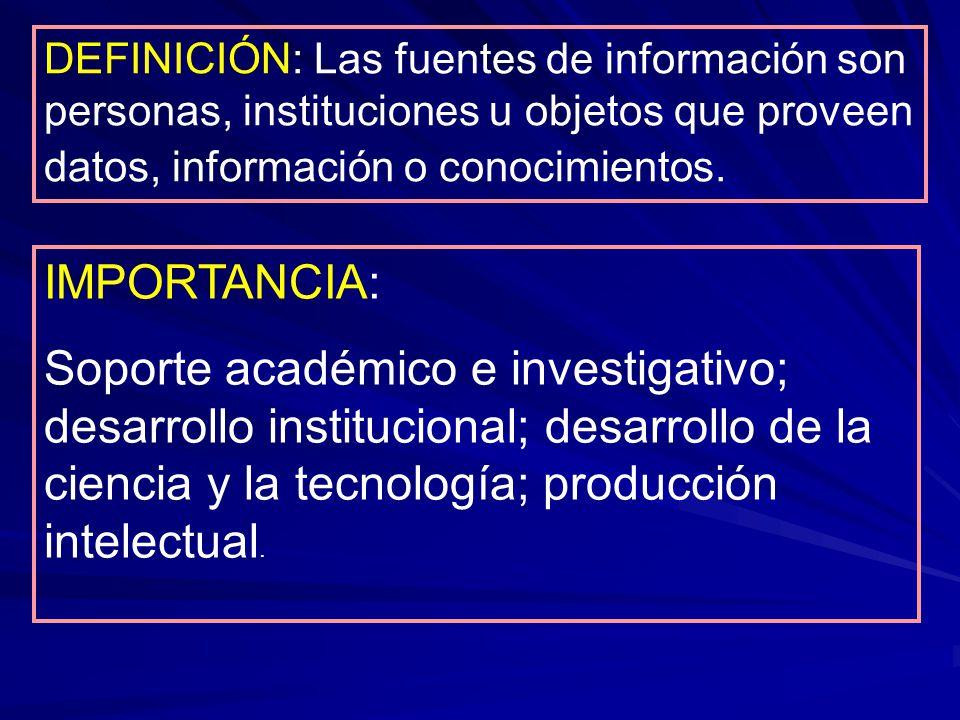 DEFINICIÓN: Las fuentes de información son personas, instituciones u objetos que proveen datos, información o conocimientos. IMPORTANCIA: Soporte acad