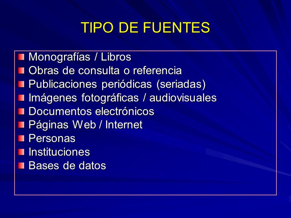TIPO DE FUENTES Monografías / Libros Obras de consulta o referencia Publicaciones periódicas (seriadas) Imágenes fotográficas / audiovisuales Document