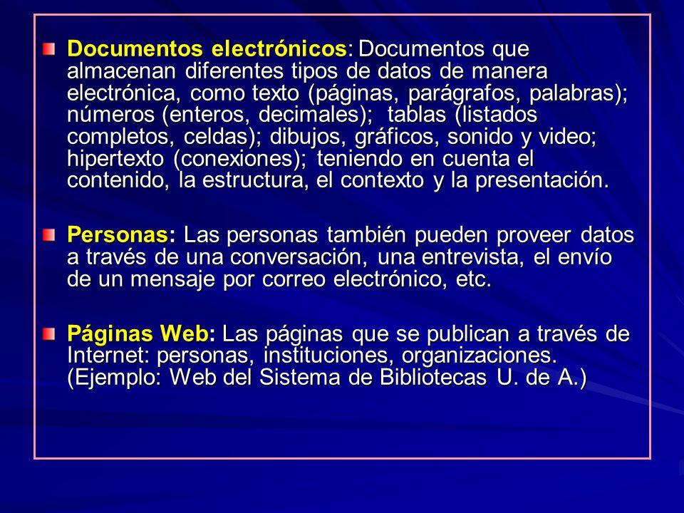 Documentos electrónicos: Documentos que almacenan diferentes tipos de datos de manera electrónica, como texto (páginas, parágrafos, palabras); números
