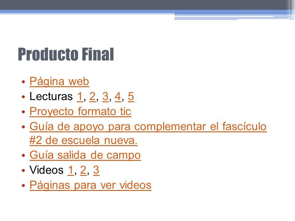 Producto Final Página web Lecturas 1, 2, 3, 4, 512345 Proyecto formato tic Guía de apoyo para complementar el fascículo #2 de escuela nueva. Guía de a