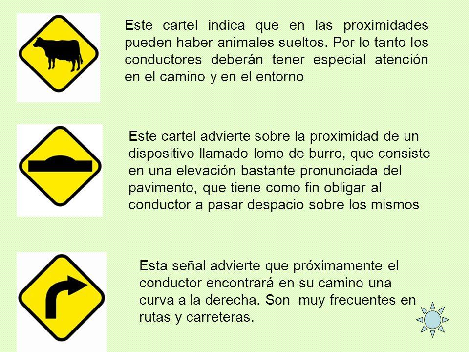 Este cartel indica que en las proximidades pueden haber animales sueltos. Por lo tanto los conductores deberán tener especial atención en el camino y