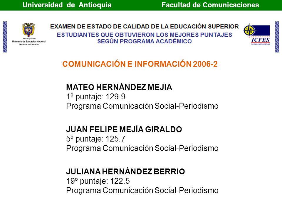 MATEO HERNÁNDEZ MEJIA 1º puntaje: 129.9 Programa Comunicación Social-Periodismo JUAN FELIPE MEJÍA GIRALDO 5º puntaje: 125.7 Programa Comunicación Social-Periodismo JULIANA HERNÁNDEZ BERRIO 19º puntaje: 122.5 Programa Comunicación Social-Periodismo COMUNICACIÓN E INFORMACIÓN 2006-2