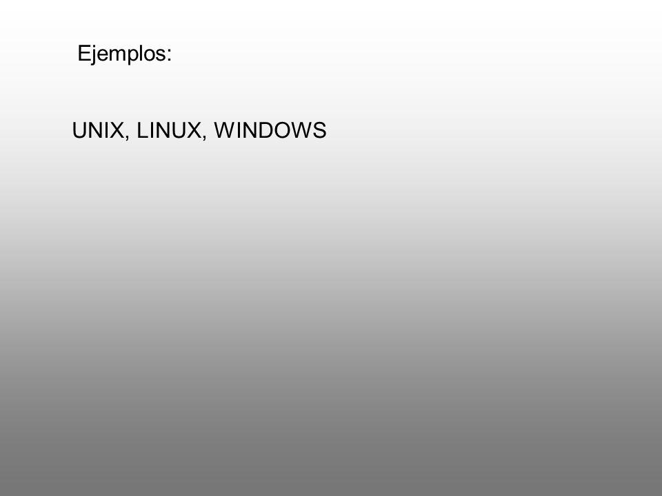 Ejemplos: UNIX, LINUX, WINDOWS