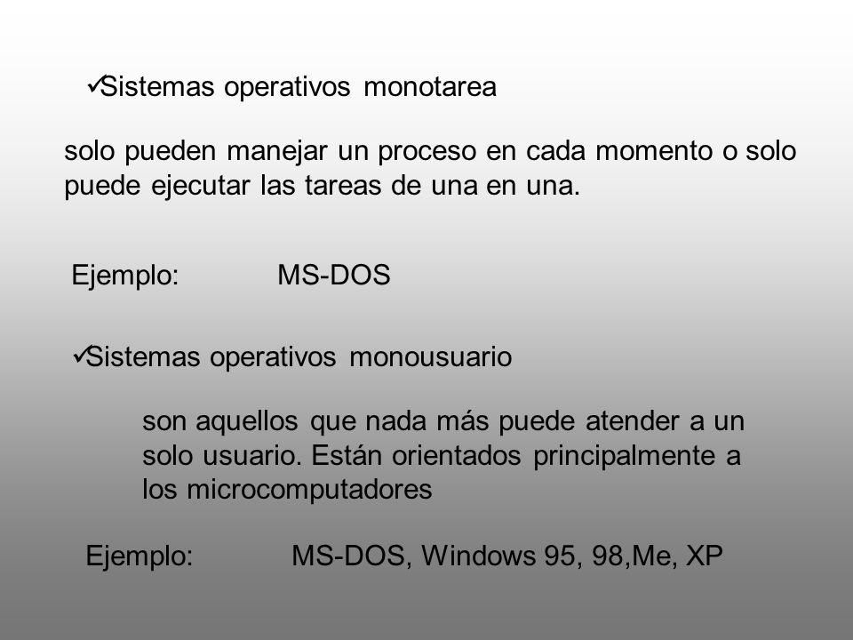 Sistemas operativos monotarea solo pueden manejar un proceso en cada momento o solo puede ejecutar las tareas de una en una. Ejemplo:MS-DOS Sistemas o