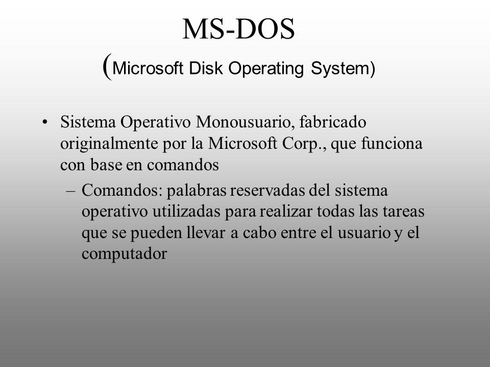 MS-DOS ( Microsoft Disk Operating System) Sistema Operativo Monousuario, fabricado originalmente por la Microsoft Corp., que funciona con base en coma