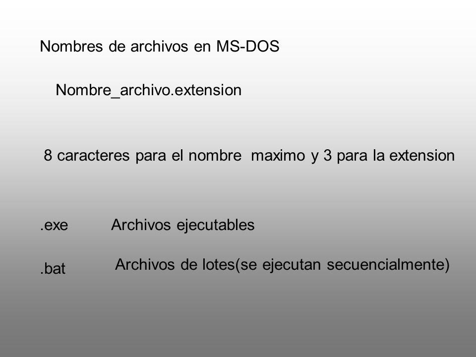 Nombres de archivos en MS-DOS Nombre_archivo.extension 8 caracteres para el nombre maximo y 3 para la extension.exeArchivos ejecutables.bat Archivos d