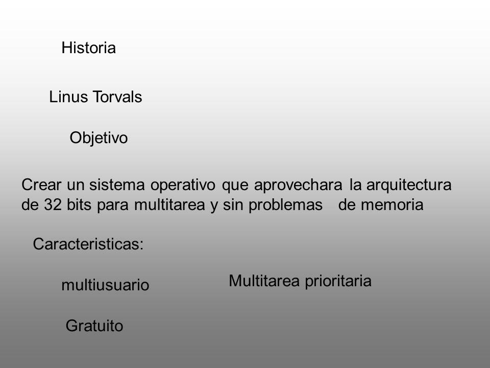 Historia Linus Torvals Objetivo Crear un sistema operativo que aprovechara la arquitectura de 32 bits para multitarea y sin problemas de memoria Carac
