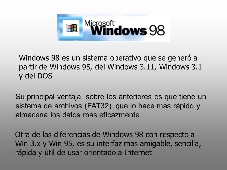 Windows 98 es un sistema operativo que se generó a partir de Windows 95, del Windows 3.11, Windows 3.1 y del DOS Su principal ventaja sobre los anteri