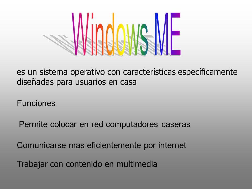 es un sistema operativo con características específicamente diseñadas para usuarios en casa Funciones Permite colocar en red computadores caseras Comu